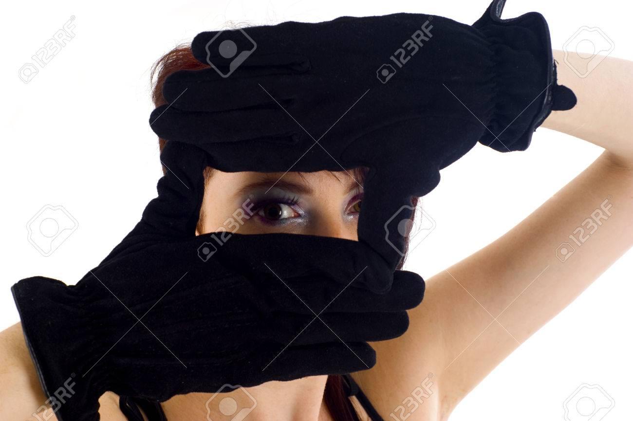 Nahaufnahme Der Schönen Frau, Die Rahmen Auf Ihr Gesicht Mit Ihren ...