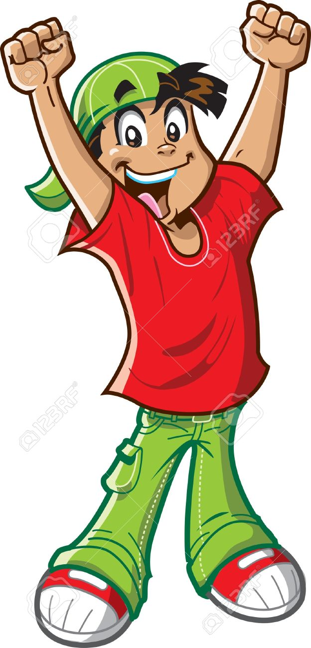 Happy cheering boy has a big smile and arms raised in the air, celebrating Stock Vector - 15527203