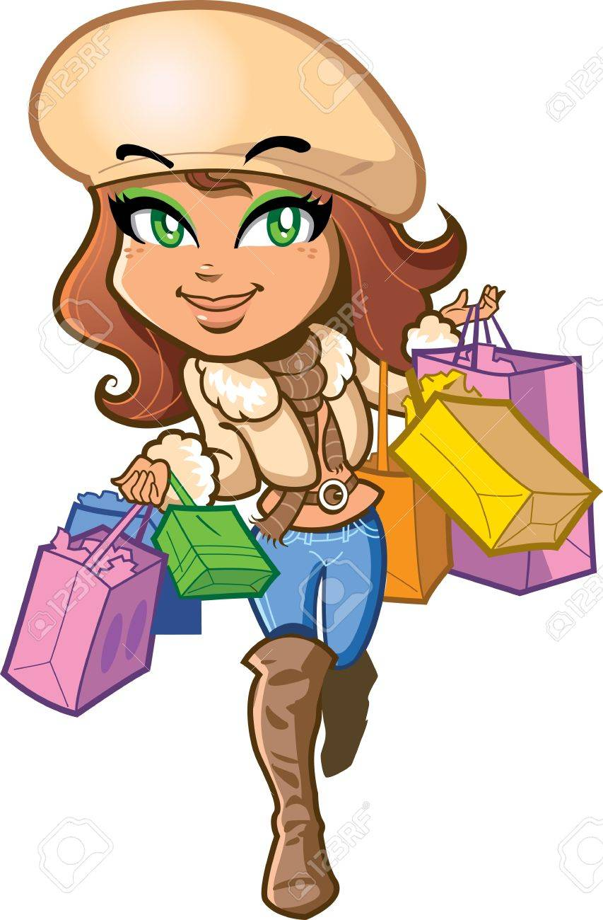 Pretty stylish brunette girl is very happy out on a shopping trip carrying shopping bags Stock Vector - 15527050