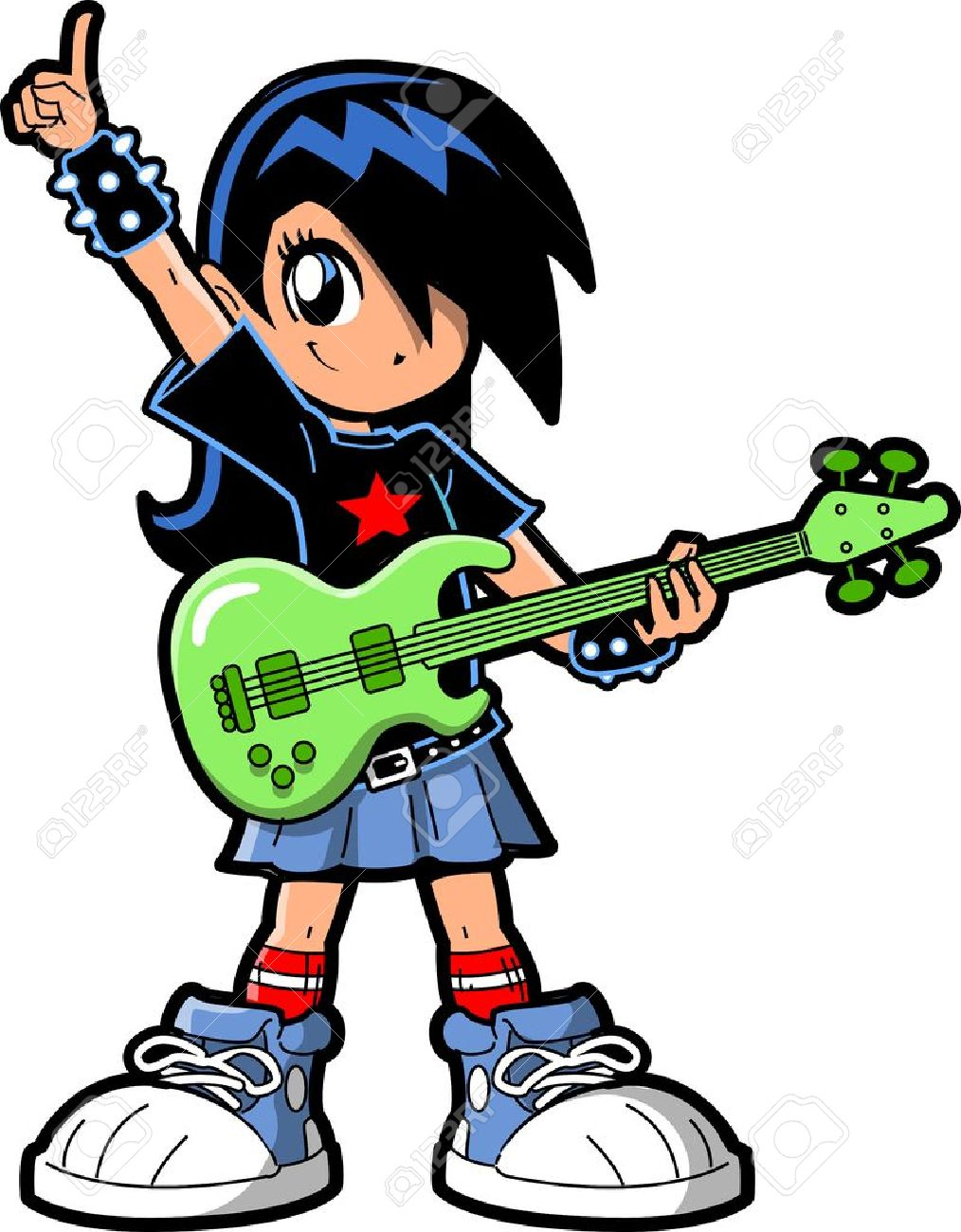 anime manga girl goth emo rock star guitar bass player stock vector 20686647