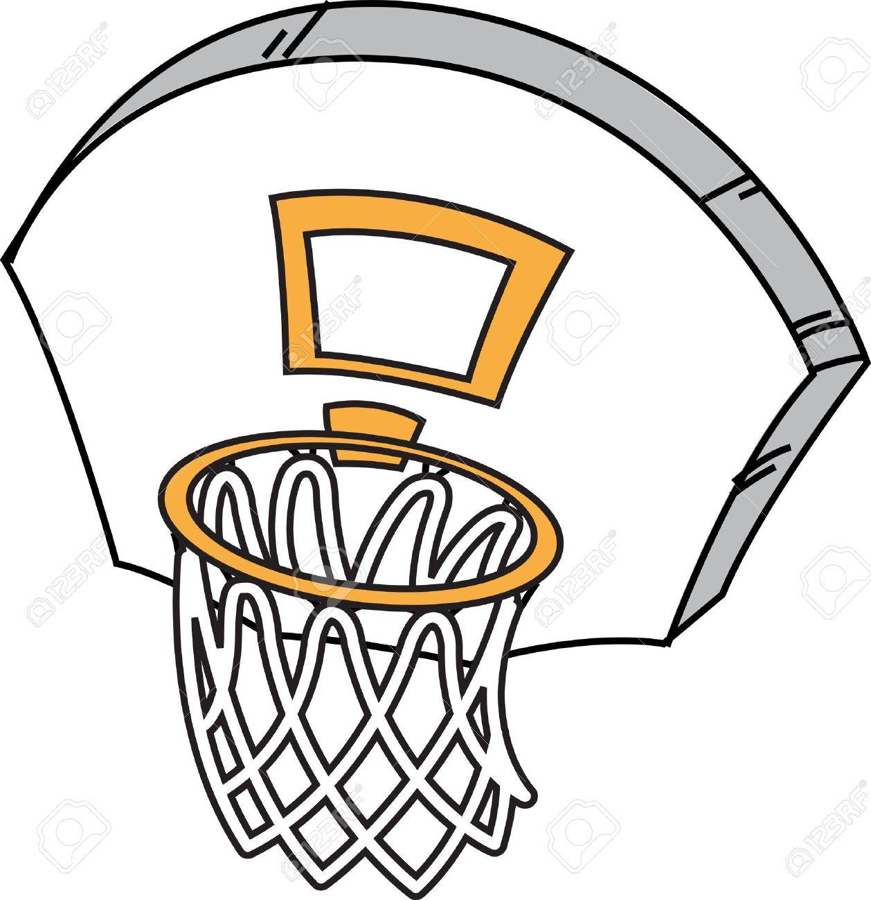 Cartoon Basketball Hoop Net And Backboard Royalty Free Cliparts