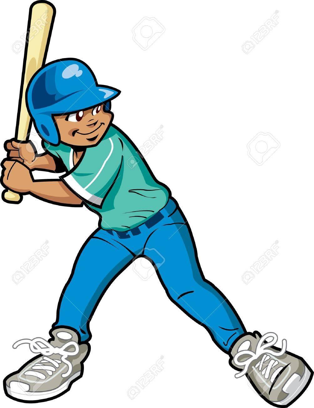 Young Boy Baseball or Softball Batter Stock Vector - 20686892