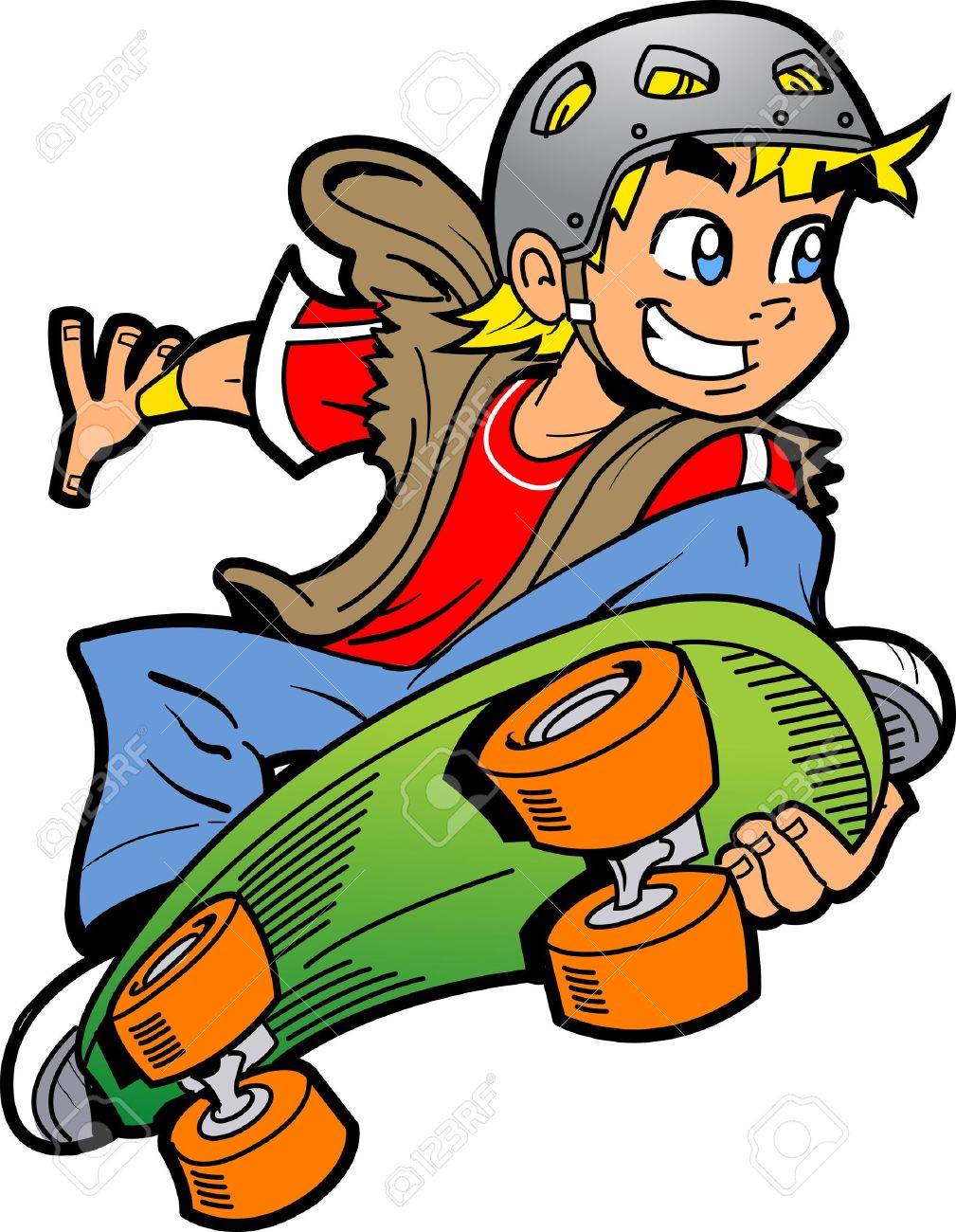 Skateboard clip art images skateboard stock photos amp clipart - Cool Smiling Young Man Or Boy Doing An Extreme Skateboard Jump Illustration