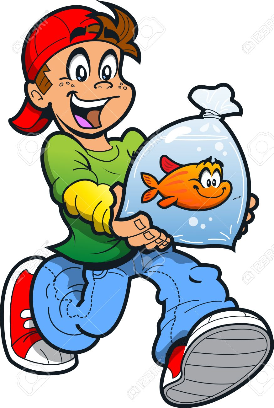 Happy Boy With His Pet Goldfish in a Plastic Bag - 20686690