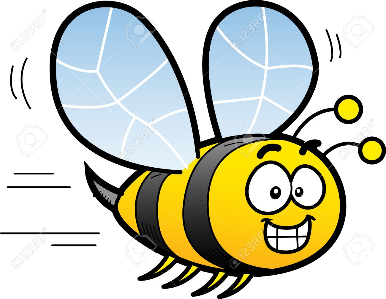 happy smiling cartoon bee flying royalty free cliparts vectors