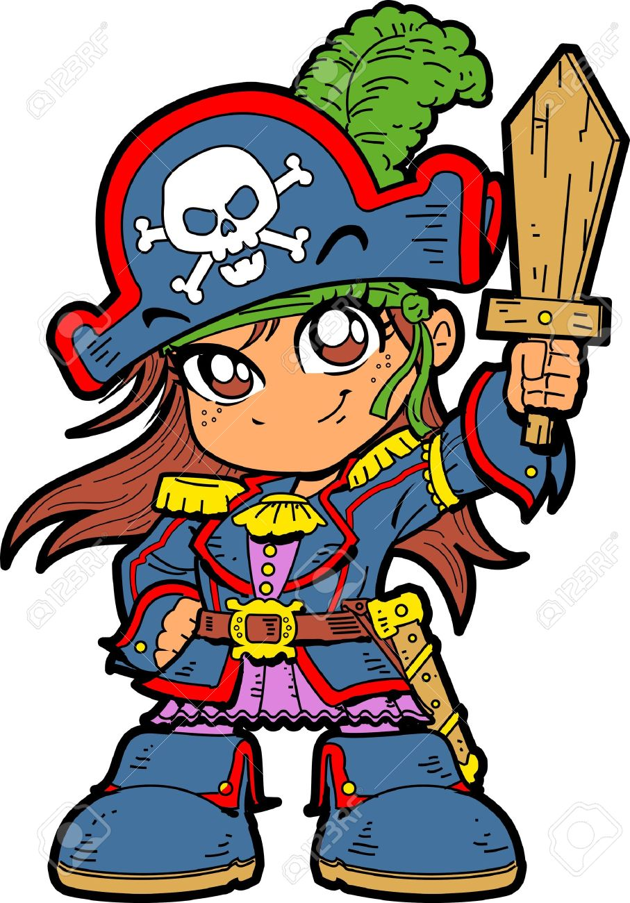 Cute Young Anime Manga Girl in Pirate Costume and Holding a Wooden Sword Stock Vector - 20686704