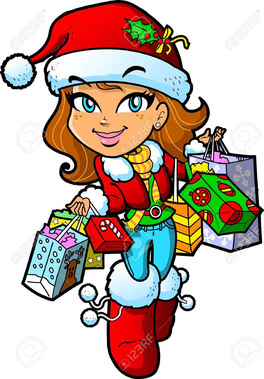 cute brunette m dchen mit weihnachtsm tze auf einem christmas rh de 123rf com Christmas Shopping Background christmas shopping bag clipart