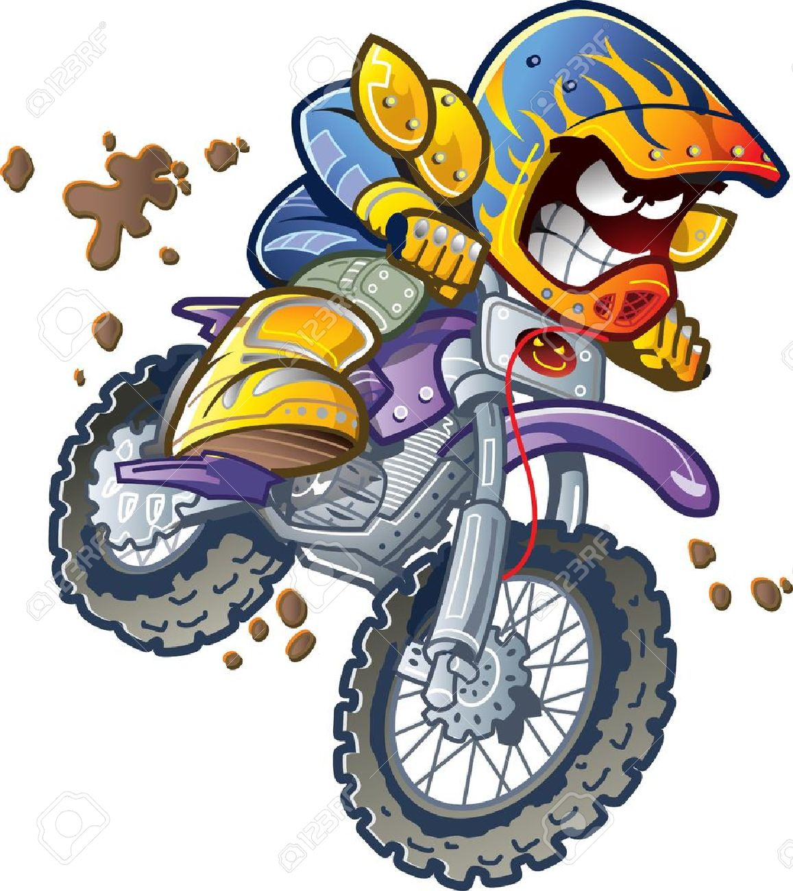 Motorcycle clip art with flames - Motorcycle Rider Dirt Bike Motorcycle Rider Making An Extreme Jump And Splashing In The Mud
