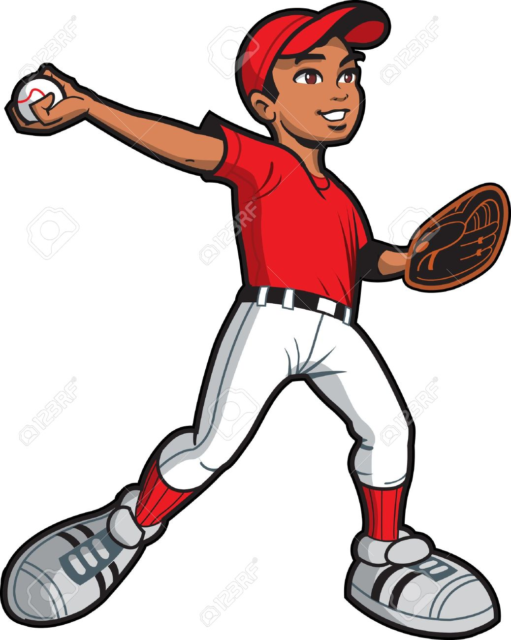 ethnic young man baseball softball pitcher throwing a pitch royalty rh 123rf com Tennis Silhouette Clip Art Court Tennis Racket Clip Art