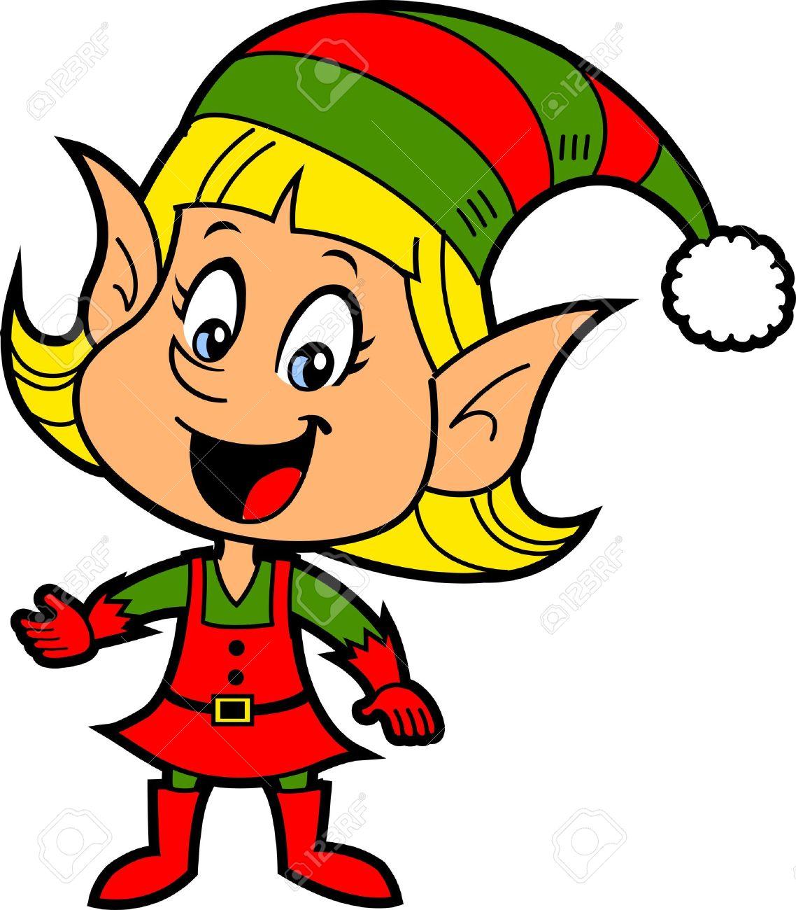 Happy Smiling Blonde Girl Christmas Santa's Elf Stock Vector - 20686734