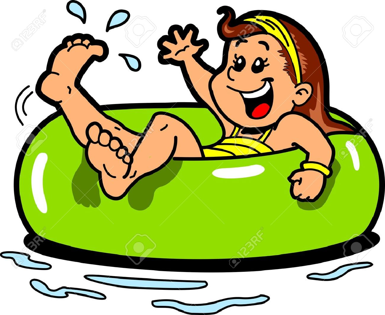 Happy Girl Floating on the Water in an Inner Tube Flotation Device Stock Vector - 20686736