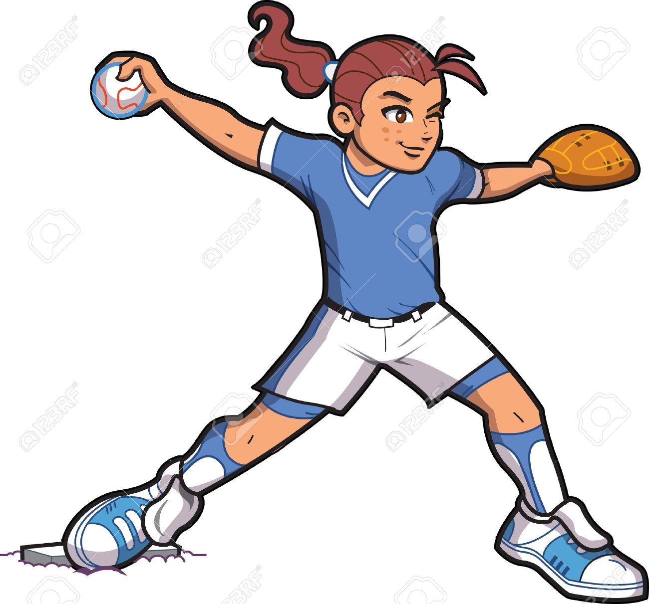 girl softball baseball pitcher with ponytail and proper form royalty rh 123rf com