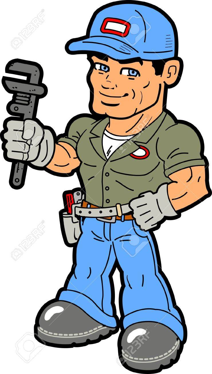Smiling Handyman Holding Wrench Royalty Free Cliparts, Vectors ...