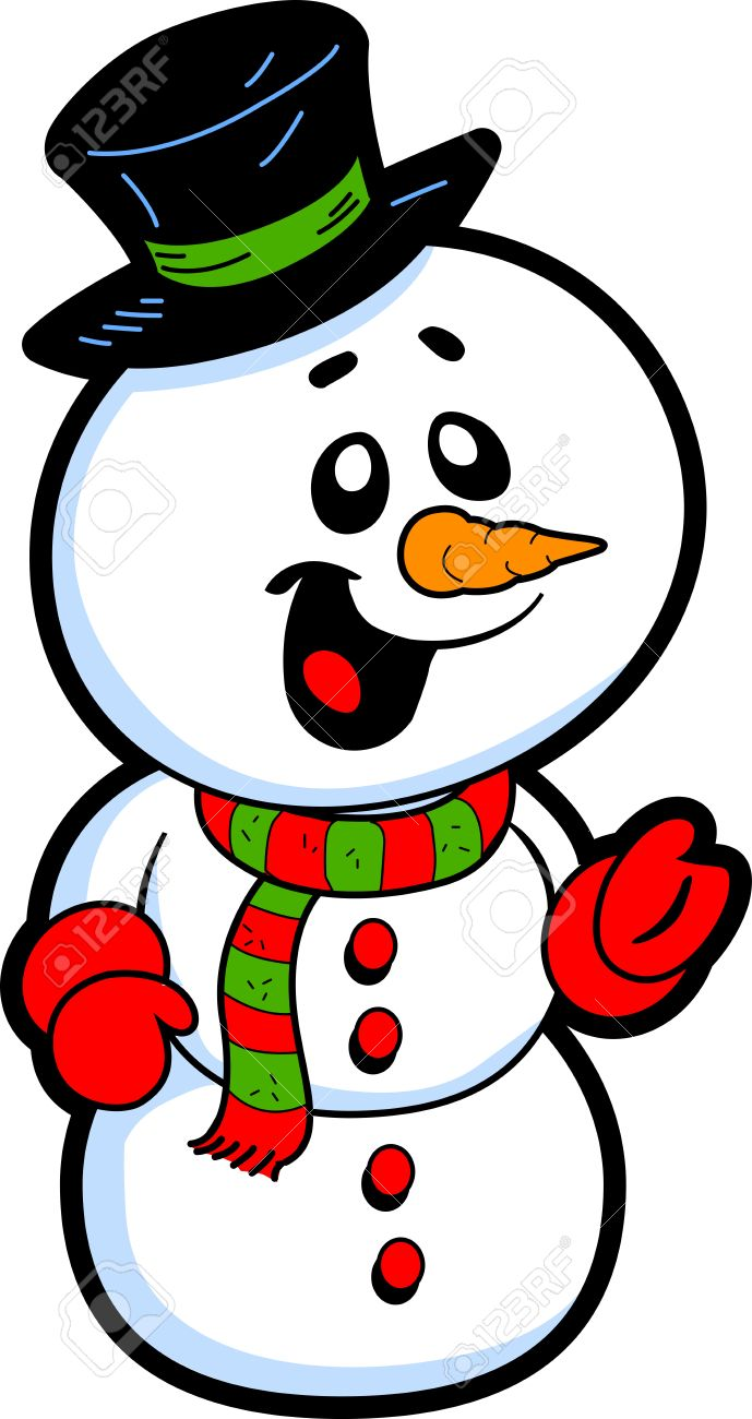 happy smiling snowman with top hat and carrot nose royalty free rh 123rf com Frosty the Snowman Face Clip Art frosty the snowman clipart free