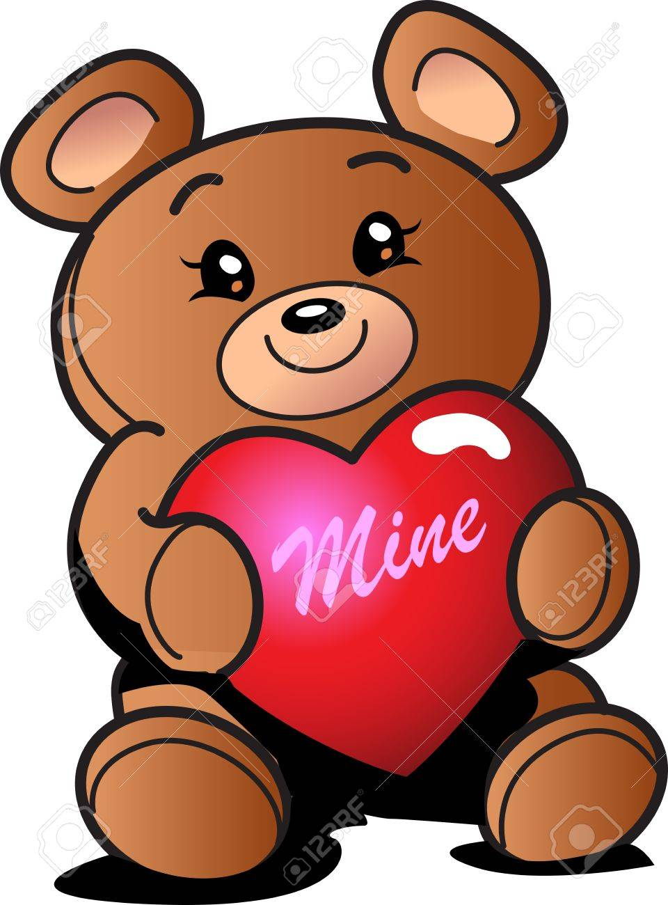Cute Valentine's Day Teddy Bear with Heart That Says