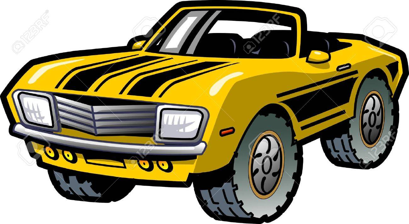 Cool Retro Yellow Convertible Muscle Car With Black Stripes - Cool car stripes
