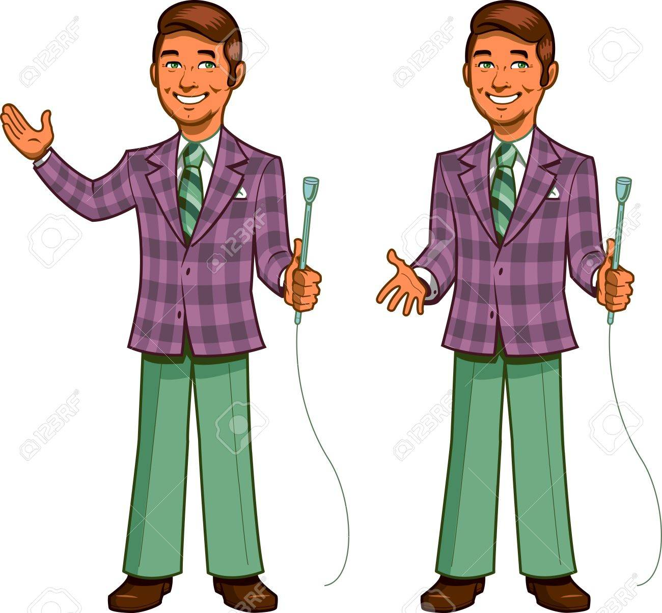 Retro Classic TV Game Show Host with Cheesy Smile and Plaid Jacket, in Two Poses - 20686997
