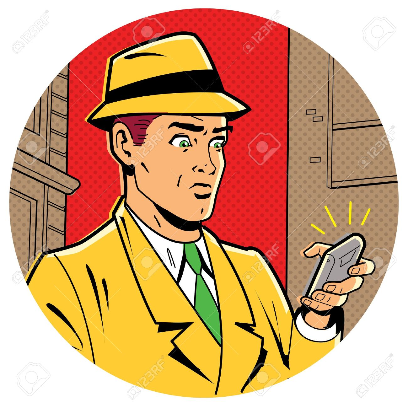 20686020 ironic satirical illustration of a retro classic comics man with a fedora and a modern smartphone