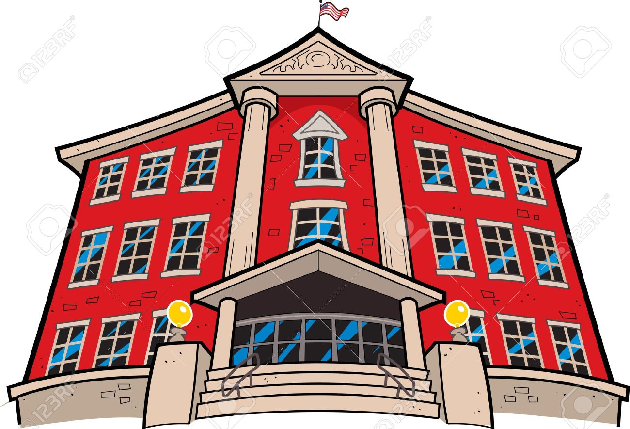 Large Imposing Red Brick School Building With American Flag Stock Vector