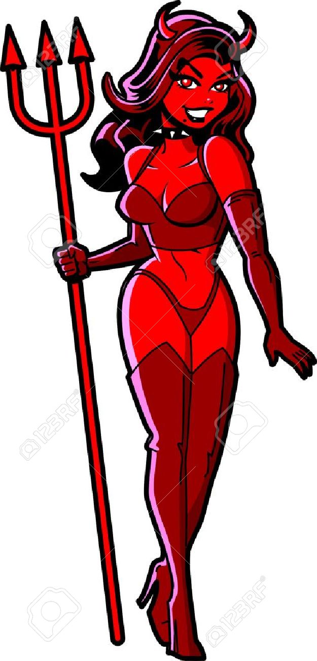 Sexy Smiling Halloween Red Devil Girl With Pitchfork Stock Vector - 20686801