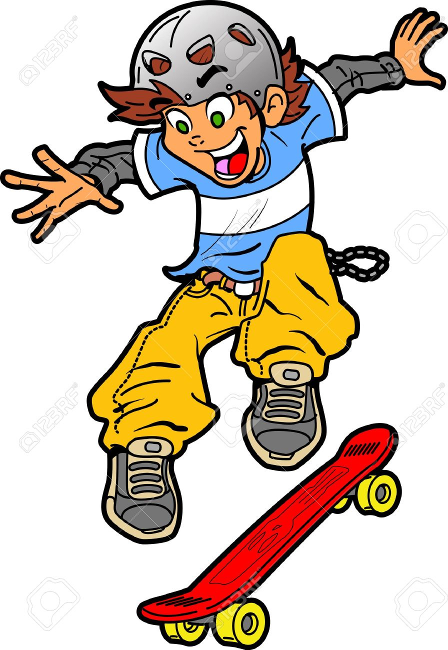Skateboard clip art images skateboard stock photos amp clipart - Cool Fun Skateboarder Doing An Extreme Trick