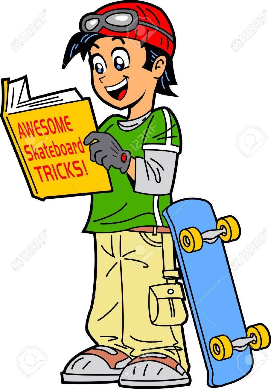 Skateboard clip art images skateboard stock photos amp clipart - Happy Skateboarder Reading A Book Of Skateboard Tricks