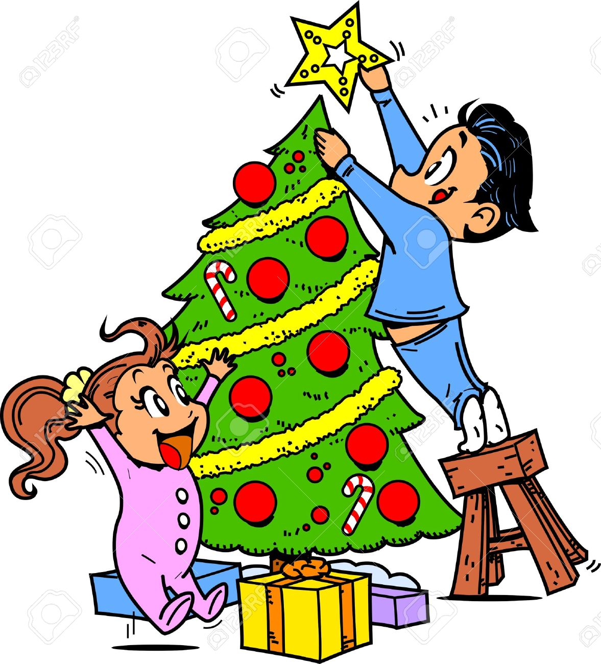 Young Boy And Girl Trimming The Christmas Tree And Putting The ...