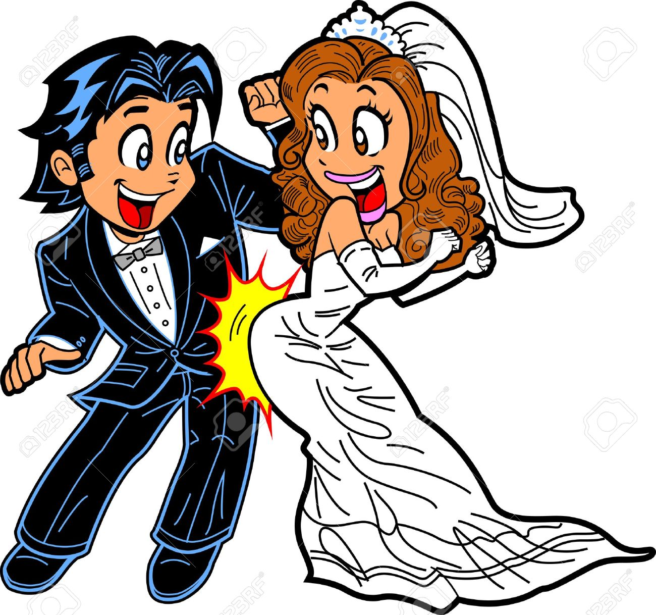 happy just married couple doing the wedding dance royalty free rh 123rf com wedding party clipart free