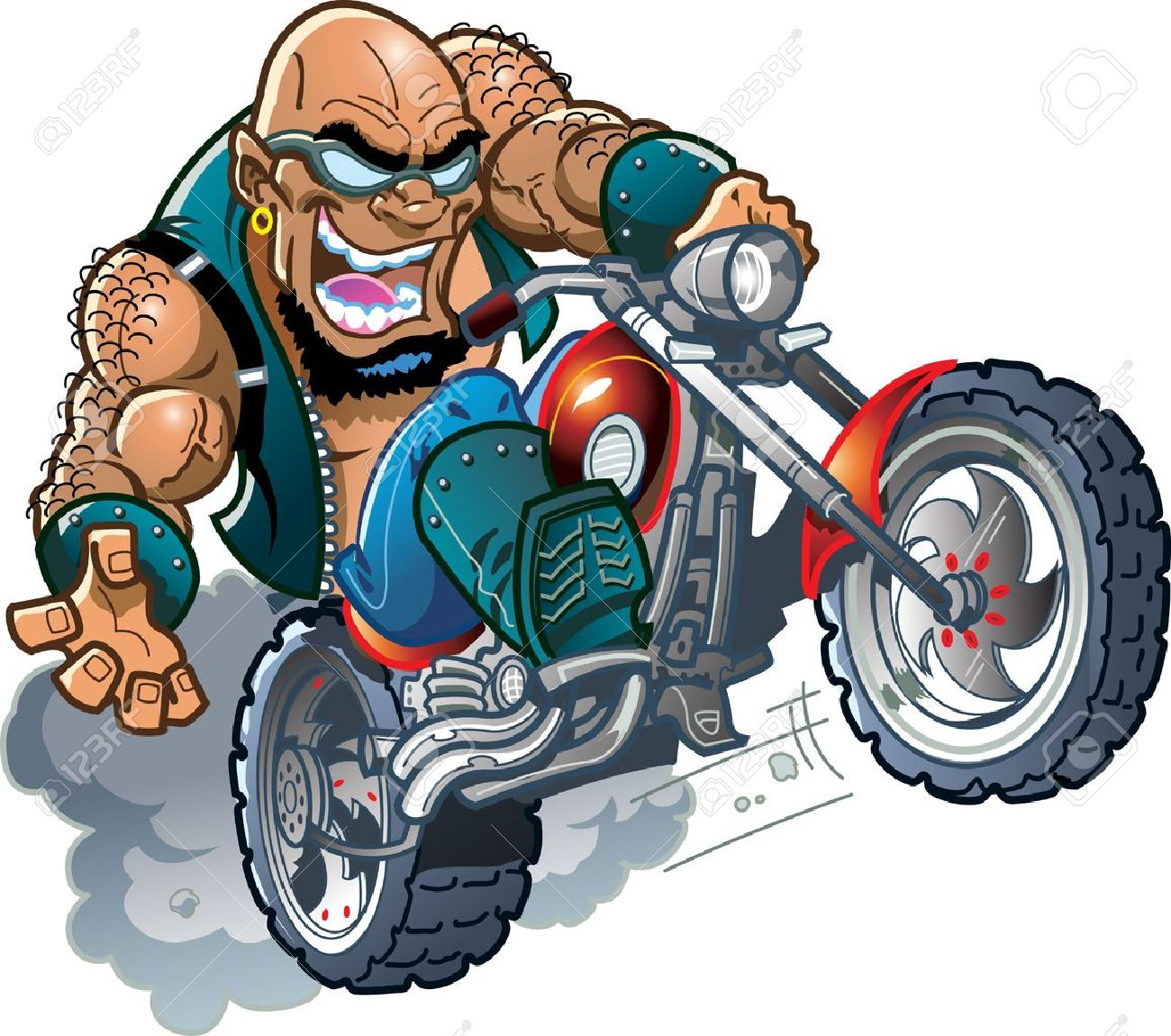 a28ee75475 Vector - Wild Crazy Bald Smiling Biker Dude with Sunglasses on Motorcycle