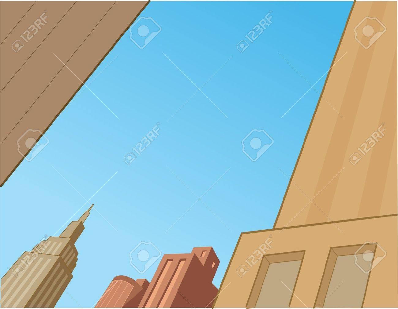 City Sky Scene Background for Superhero Comics and Animation Stock Vector - 21536032