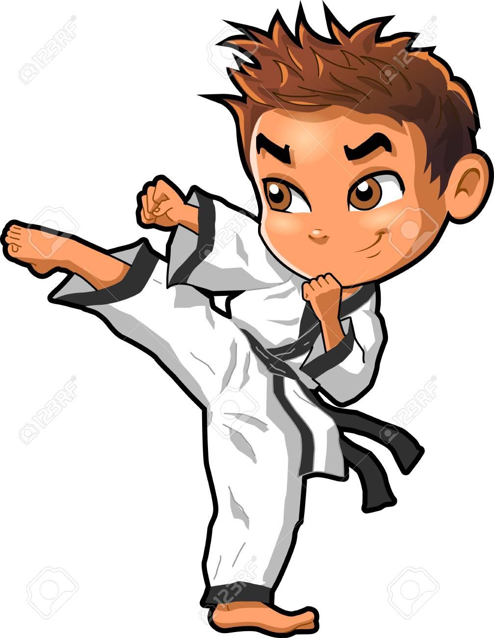 空手格闘技テコンドー道場ベクトル クリップ アート漫画 のイラスト素材 ベクタ Image