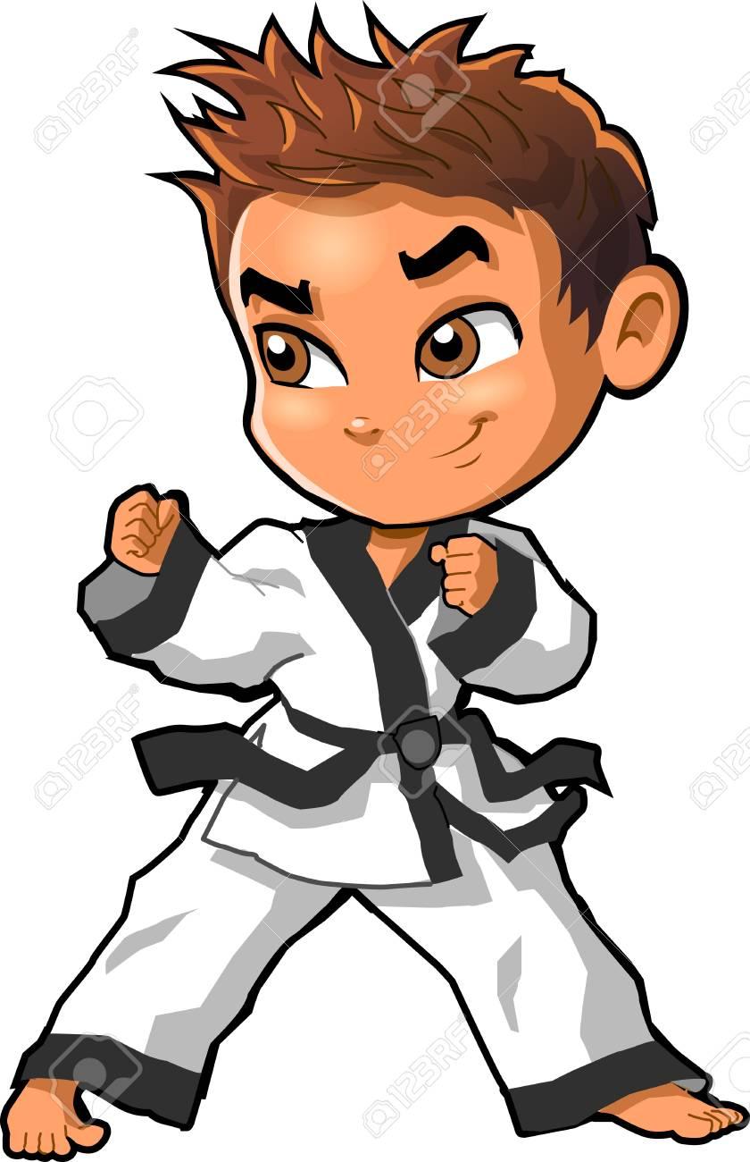 Karate Martial Arts Tae Kwon Do Dojo Vector Clip Art Cartoon Royalty Free Cliparts Vectors And Stock Illustration Image 92596513