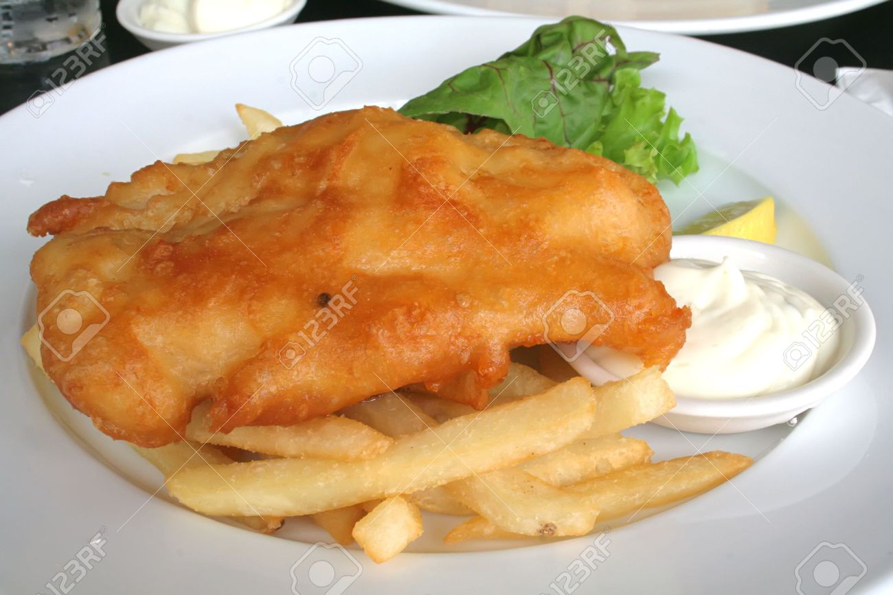 Fish 'n Chips, traditionally beer battered and fried Stock Photo - 2839710