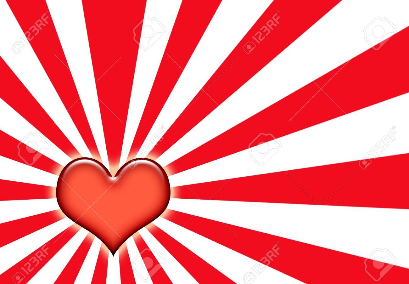 Love Wallpaper Background On Sunburst Red And White Stock Photo