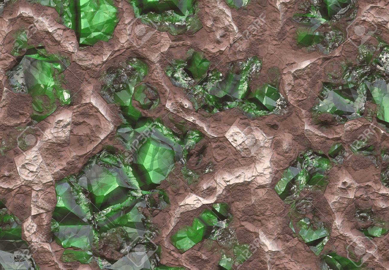 Emerald Stone Vein Buried in Earth and Stone Stock Photo - 3593948