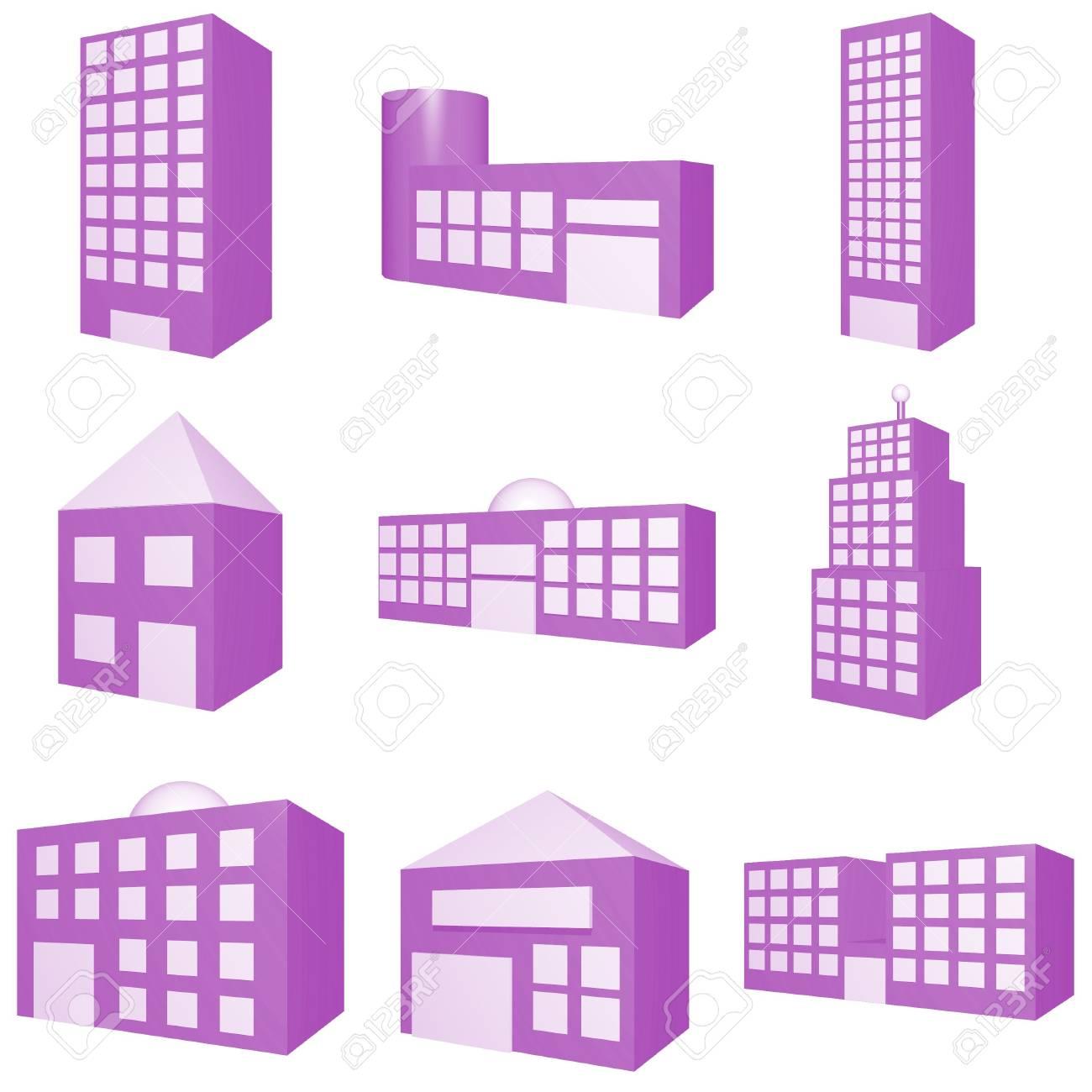 Building Icon Set in Purple Stock Photo - 3617624