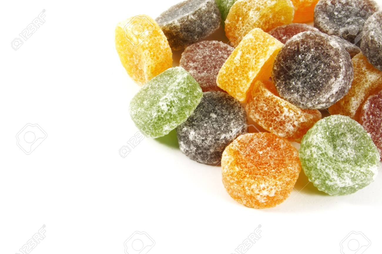 Pile of Candy Jelly Chews Laid Out on a White Background Stock Photo - 3833006