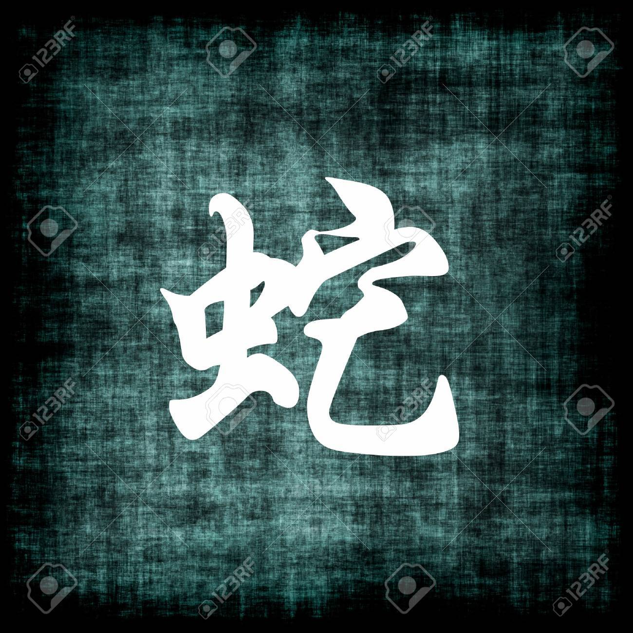 Chinese Zodiac Sign for Snake on Scroll Stock Photo - 4081536