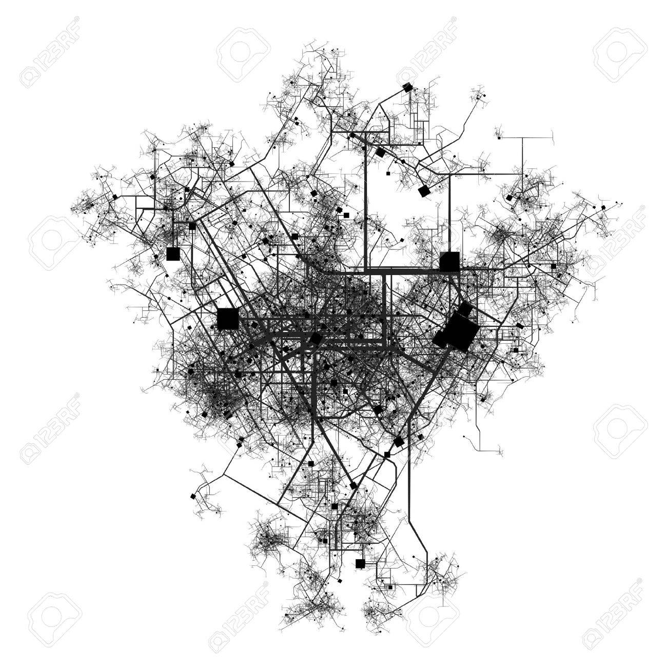 City Map of a Fictional Town Roads and Streets Stock Photo - 4926622