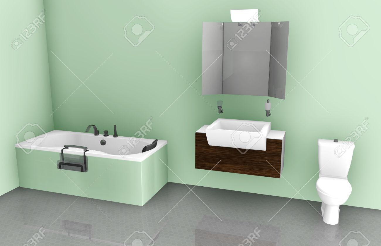 Bathroom Interior Design On Tub, Sink And Toilet Stock Photo ...