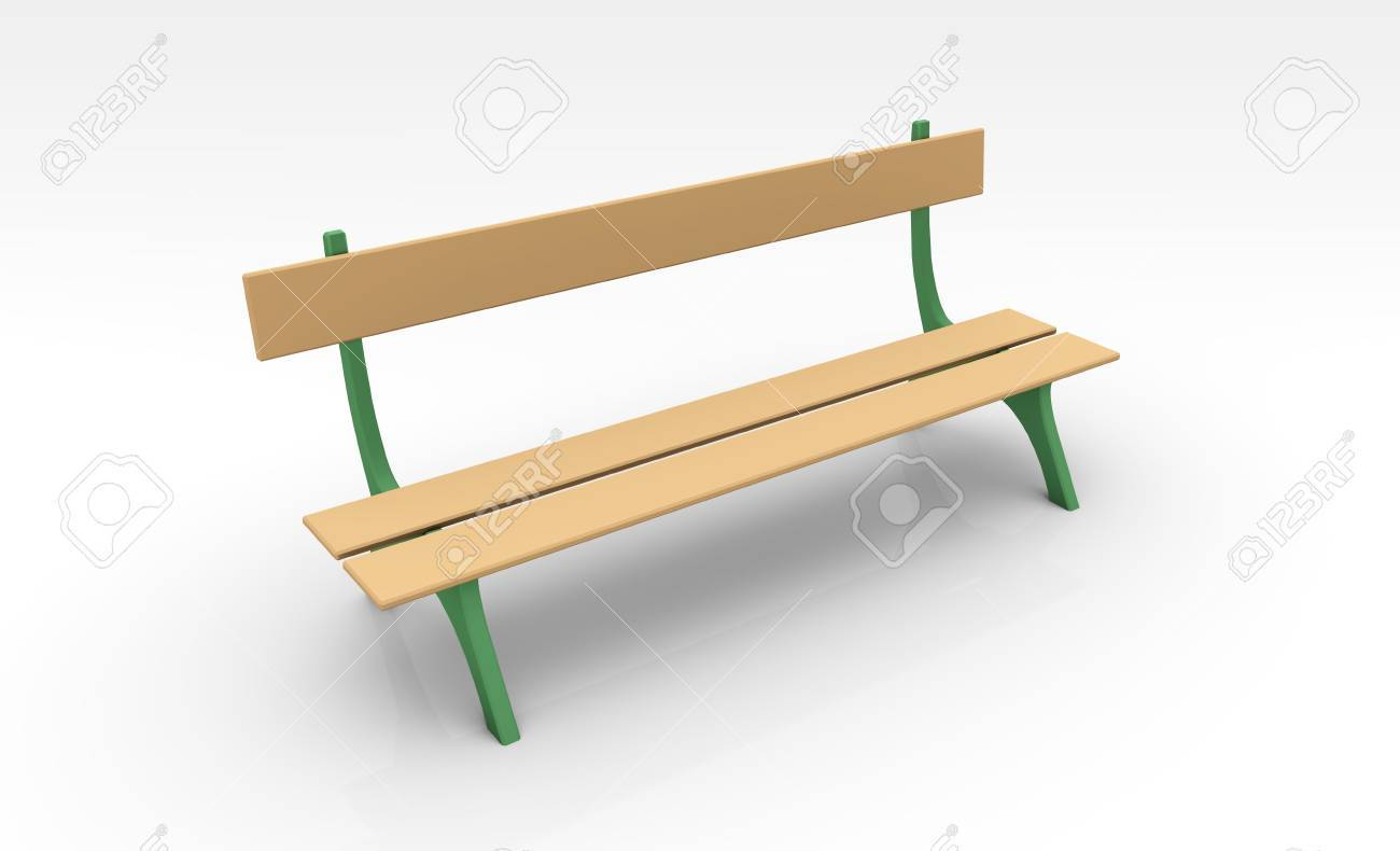 Park Bench In 3d Clip Art Isolated Stock Photo, Picture And ...