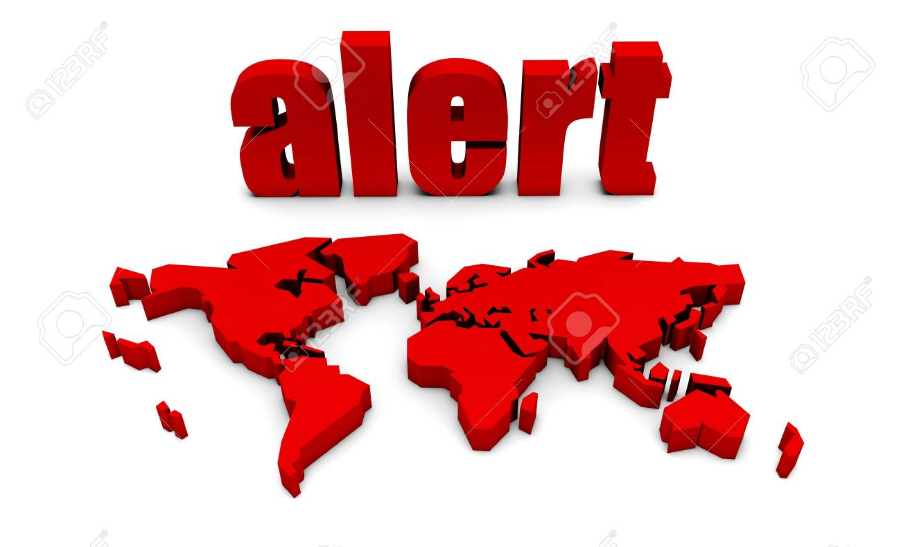 Global Alert With Red Text and International Map on global search, global security issues, global coffee, global aid, global light, global pandemonium, global success, global information, global audit,