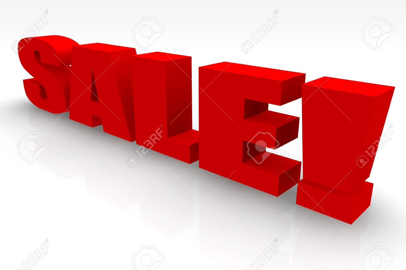 On Sale Red Large Sign On White Stock Photo - 5231797