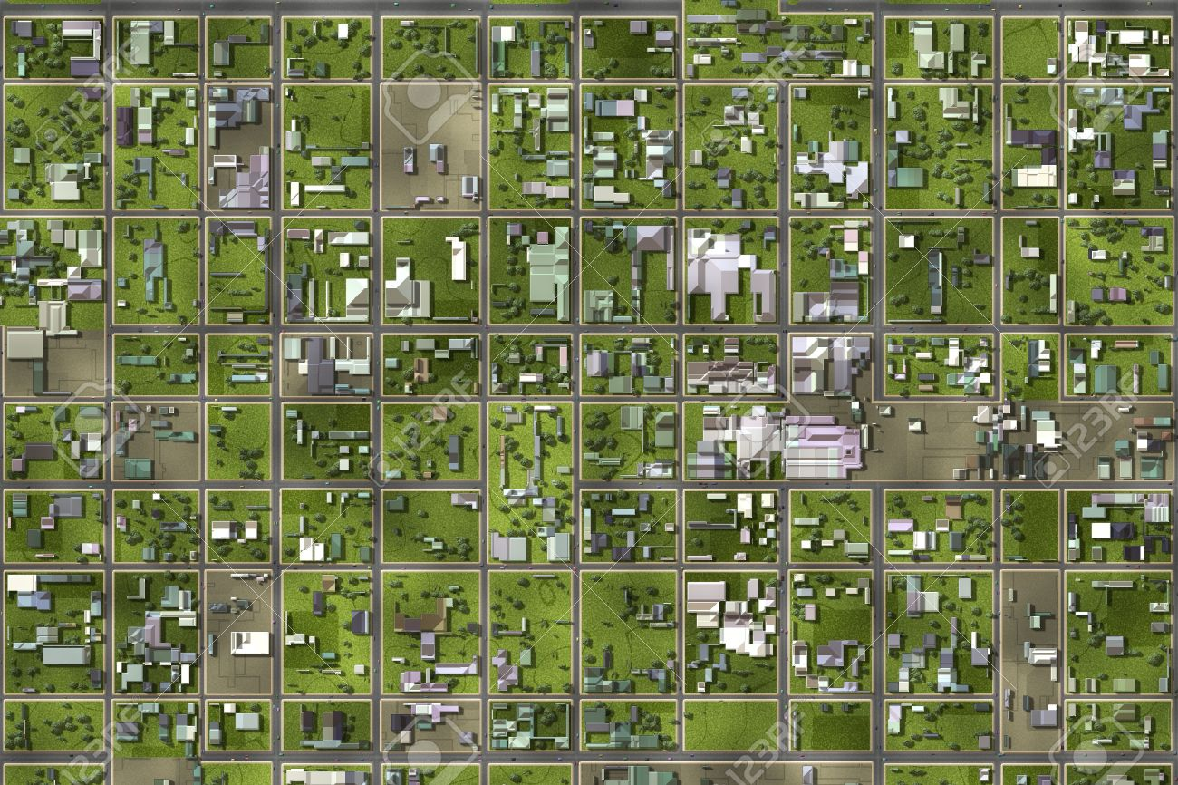 Satellite View From The Top Of A Suburb Stock Photo Picture And - Satellite view