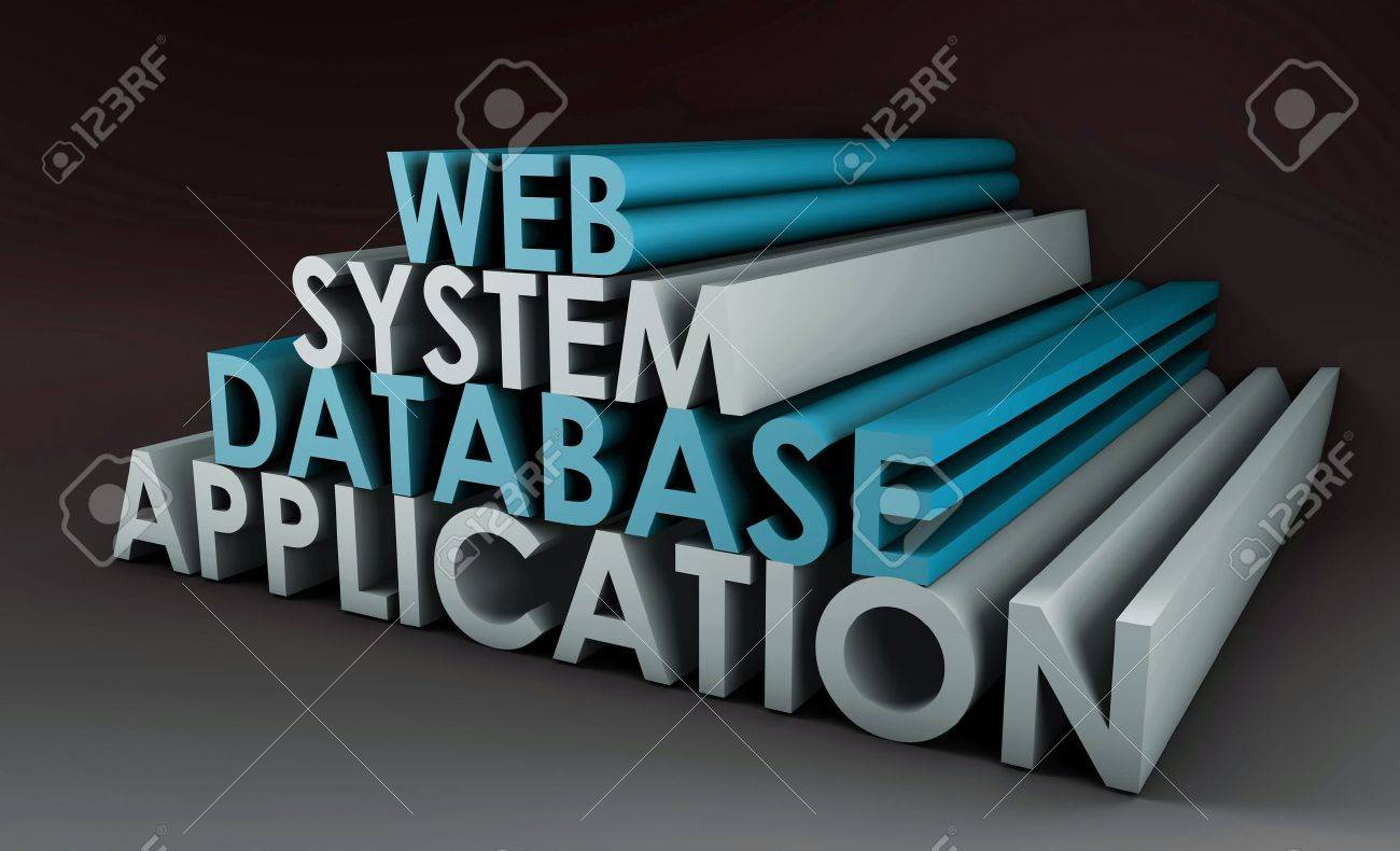 Web Application Database System in 3d Background Stock Photo - 5433770