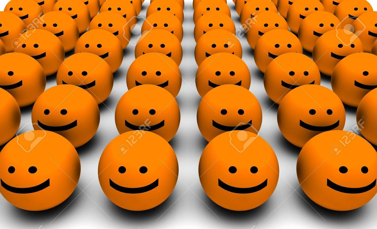 3D Round Smiley Faces as Background Abstract Stock Photo - 5604278
