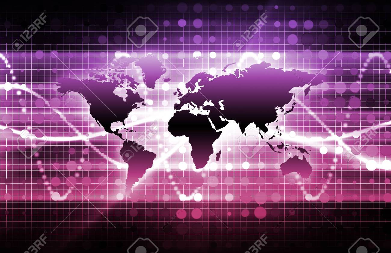 Abstract Technology Background With a Glowing Map Stock Photo - 5627256