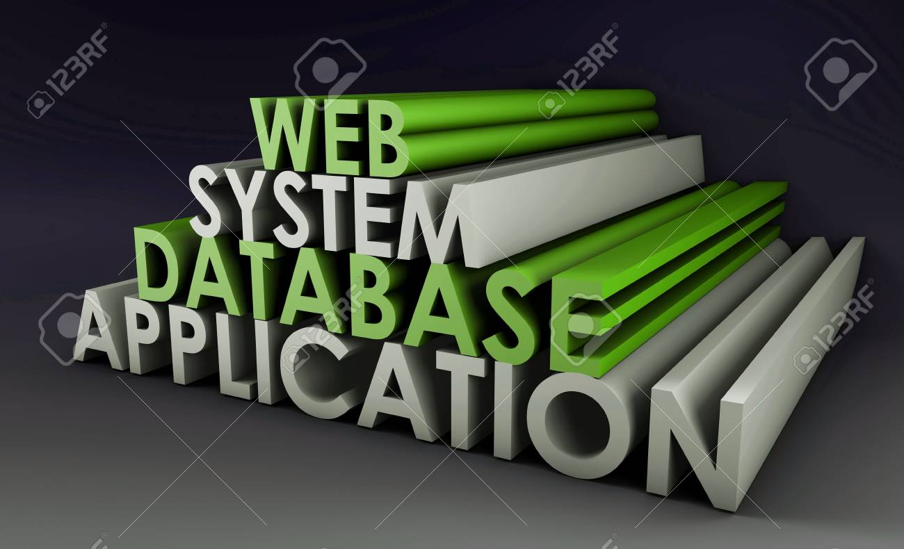 Web Application Database System in 3d Background Stock Photo - 5677272
