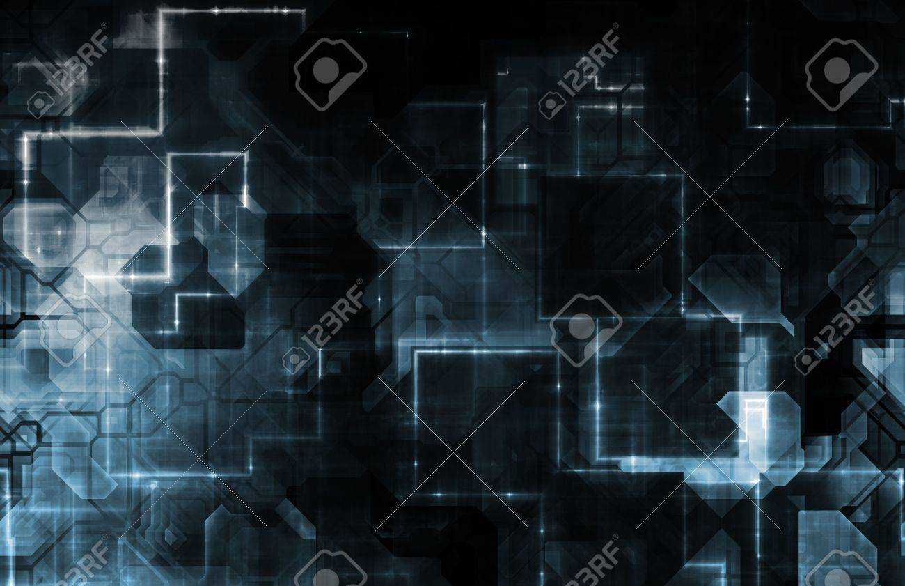 Blue Abstract as a Network Data Energy Grid Stock Photo - 5761650