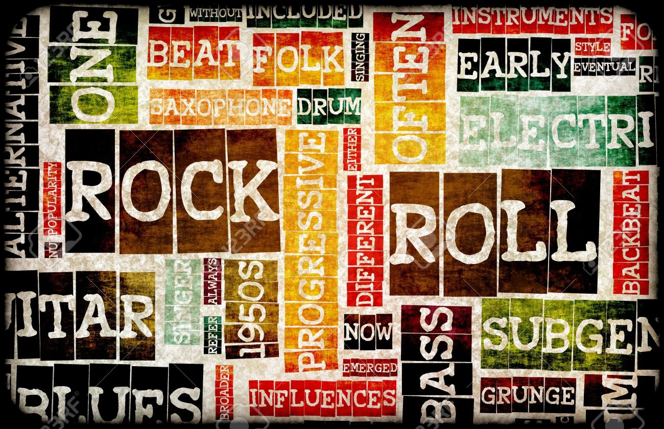 Rock And Roll Music Poster Art As Background Stock Photo, Picture ...
